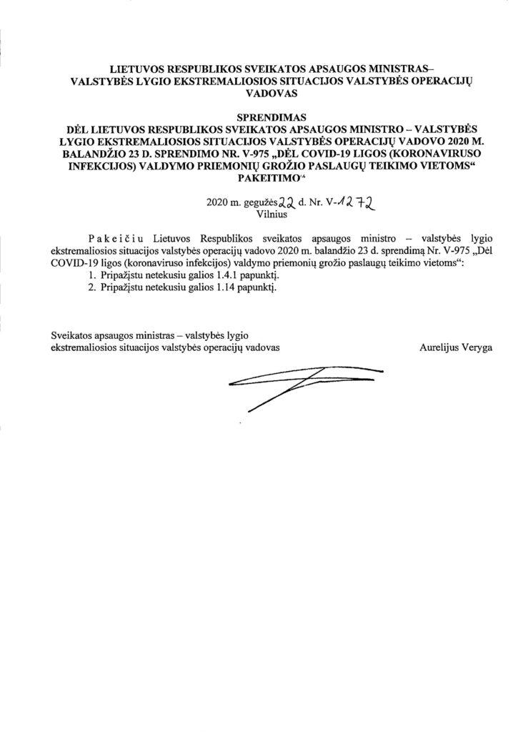 DĖL-COVID-19-LIGOS-KORONAVIRUSO-INFEKCIJOS-VALDYMO-PRIEMONIŲ-GROŽIO-PASLAUGŲ-TEIKIMO-VIETOMS-PAKEITIMO-V-1272_Page_1-725x1024